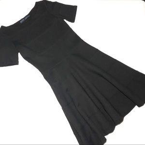 Zara Basic Black Banded Dress w Sleeves Small